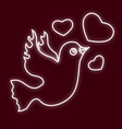 the bird is of a dove with hearts vector image vector image