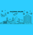 united states san jose winter holidays skyline vector image vector image