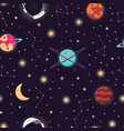 universe with planets stars and astronaut helmet vector image