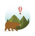wanderlust label with landscape and bear grizzly vector image vector image