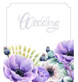 watercolor flowers and leaves wedding greeting vector image vector image