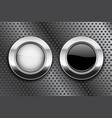 white and black buttons on metal perforated vector image