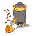 with trumpet battery mascot cartoon style vector image vector image