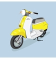 Yellow-white retro scooter drawn in vector image