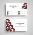 Business card with abstract triangles template vector image