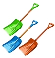 Green blue and red plastic dustpan isolated vector image
