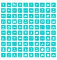 100 favorite work icons set grunge blue vector image vector image