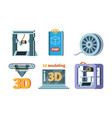3d printing icon dimensional printer prototypes vector image vector image
