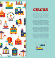 amusement park circus banner design with icons vector image vector image