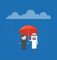 arab businessman sharing an umbrella with arab vector image