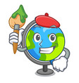 artist globe character cartoon style vector image