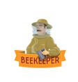 beekeeper in hat icon for beekeeping farm design vector image vector image