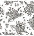 bird cherry flowers seamless pattern hand drawn vector image vector image