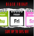 black friday calendar on white background vector image