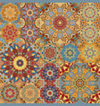 boho tile set and seamless pattern brown vector image