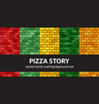 brick pattern set pizza story seamless brick vector image