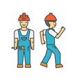 Builder man line icon concept builder man flat