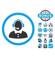 Call Center Woman Flat Icon with Bonus vector image vector image