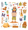camping outdoor travel tourist man holding map and vector image vector image