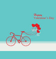 card for valentines day with bicycle and ballons vector image vector image
