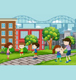 children playing at urban park vector image vector image