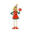 christmas elf character carrying gift box cute vector image vector image