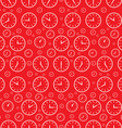Clock Seamless Pattern Clock Face Set on Red vector image
