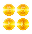 cryptocurrencys icons set bitcoin ethereum vector image vector image