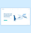 decision solution and choice isometric landing vector image vector image