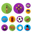 england country flat icons in set collection for vector image vector image