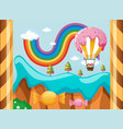 fantacy world with candy balloon over the rainbow vector image vector image