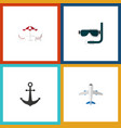 flat icon summer set of scuba diving ship hook vector image vector image