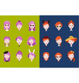 flat set of female heads with different vector image vector image