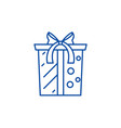 gift box with bow line icon concept gift box vector image vector image