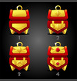 golden red treasure chests rating for games vector image vector image