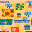 happy birthday seamless pattern with cute gift vector image vector image