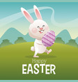 happy easter card cute bunny egg landscape vector image vector image