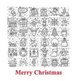 happy new year and merry christmas icons set vector image