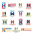 letter h corporate identity business icons vector image vector image