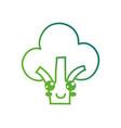 line kawaii cute happy broccoli vegetable vector image vector image