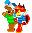 little bear and fox vector image vector image