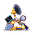 megaphone with social media set icons vector image vector image