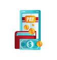 modern smartphone and wallet mobile payment vector image