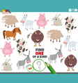 one a kind game for children with cartoon farm vector image vector image