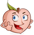 peach cartoon character thumbs up vector image vector image