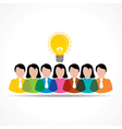 people team with idea bulb vector image vector image
