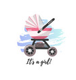 pink baby stroller for baby girl vector image vector image