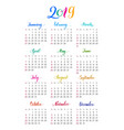 plain wall calendar 2019 year lettering flat vector image