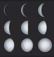 realistic moon phases lunar phase full luna vector image