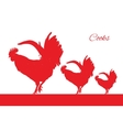 Red cocks bird isolated object vector image vector image